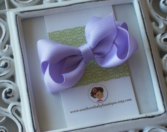 New Item----Little Baby Toddler Girl Hair Bows 2.5 inch Clip or Headband----Lavender----Ready to Ship