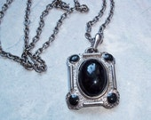 Vintage Victorian Style Large Silvertone Pendant Necklace with Black Stones
