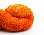 Orange Juice, Hand Dyed Sock Yarn, SuperWash Blue Faced Leicester, 365m, 4 ply, sock weight
