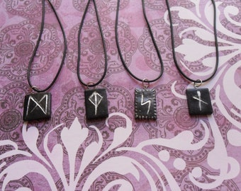 Polymer Clay Rune Necklaces