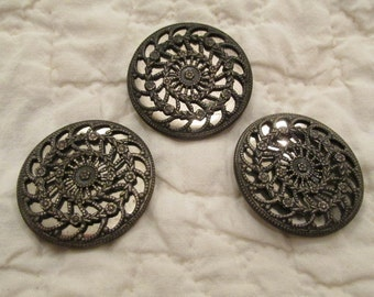 "Vintage Buttons Mirrored back 1 1/2"" across set of 3 SALE"