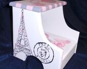Custom designed Parisian Wooden Step Stool, Handmade and Handpainted, personalized kids furniture, kids room decor