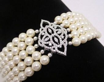 Pearl Bridal bracelet, Crystal Wedding bracelet, Wedding jewelry, Cuff bracelet, Rhinestone bracelet, Statement bracelet, EMILY