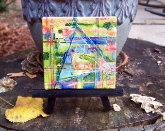Triangle, Abstract Mini Painting with Easel