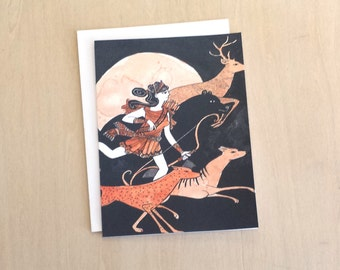 Artemis Goddess of the Hunt - A2 greek hunting goddess card