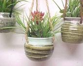 Mini Planter Hanging Pottery Faux Plants ~Your Choice~ Concrete Color or Seafoam Green Rim or Gray Color Rim Miniature Pottery