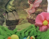 Fairy and frog conversing inside a Panoramic Sugar egg