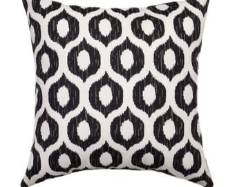 Black Outdoor Pillow, Swavelle Mill Creek Tropix Vroome Licorice Black Modern Geometric Ogee Outdoor Throw Pillow