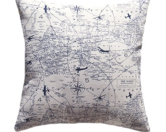 Airplane STUFFED Throw Pillow,  Air Traffic Navy Decorative Pillow, Airplane Map Accent Pillow, Navy Pillow, Nursery Pillow - Free Ship