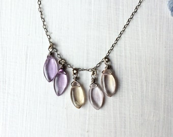 Oxidized Sterling Silver Ametrine Bib Necklace - Peach and Purple Crystal Necklace