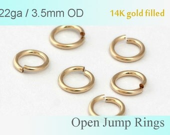 22ga 3.5mm Open Jump Rings 22 gauge 14k Gold Filled - made in USA wholesale Jewelry  Supply(1521)