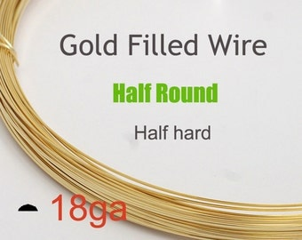 14K GF Half Round wire - 18 gauge 5ft or 10ft, Half hard gold filled wire, made in UsA wholesale Jewelry Wire Supply(1058)