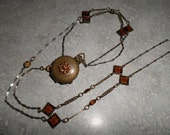 RESERVED Michelle hinged quadruple antique Locket bezel amber faceted glass gems ornate chain with prong set locket
