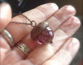 Glass Acorn Necklace in Amethyst with Goldstone by Bullseyebeads