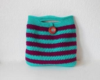 Striped Crochet Handbag in Jade and Boysenberry, ready to ship.