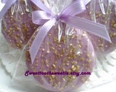 Purple and Gold Chocolate Covered Oreos Cookie Lavender Gold Baby Shower Wedding Favor Christening Baptism Favor Sweet 16 Party Quinceanera