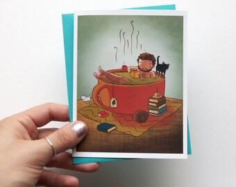 Cozy Tea Bath Boy - cute blank greeting card with envelope