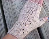 Knit Wool Fingerless Gloves Oatmeal Tweed