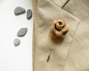 Flower lapel pin. Mens boutonniere. Linen lapel pin. Made in Italy.  Lapel flower. Stripes. Camel beige and tobacco.