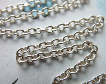 Shop Sale..3 feet, Silver Cable Chain,10-35% less, Sterling Silver Jewelry Chain, 2.5x1.8 mm, thick petite wholesale unfinished SS..S205. hp
