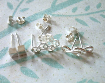 Shop Sale.. INFINITY Earrings / Cube Outline / Square Post Earrings .. u pick, Sterling Silver, with post clutches, wholesale p6 p7 p8 solo