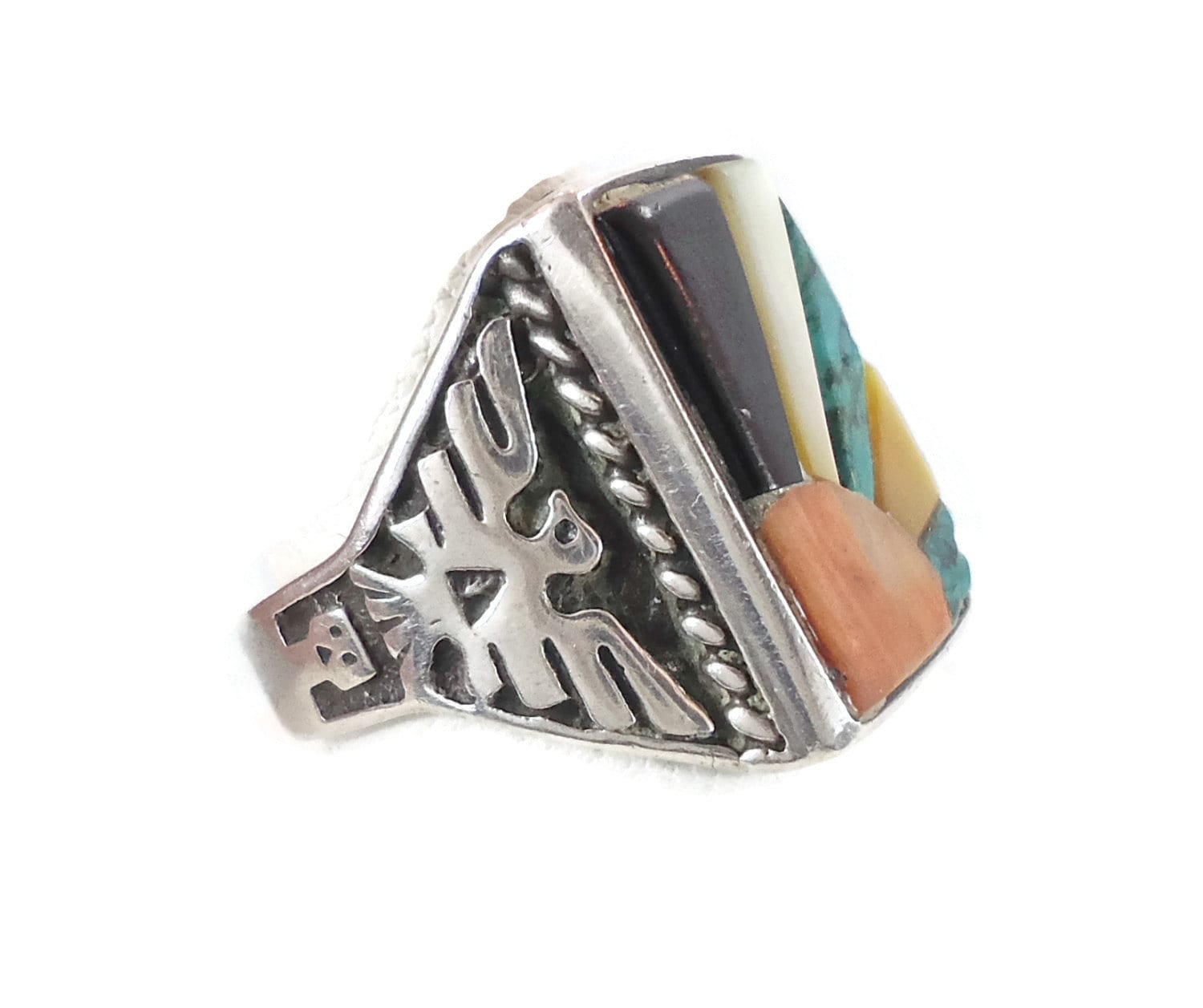 thunderbird sterling silver ring turquoise inlay navajo