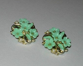 Vintage Earrings with Aqua Flowers and Pearls  - Clip Ons