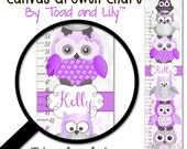 Personalized Kids Canvas GROWTH CHART Purple and Grey Stacked Up Owl Friends Damask Baby Girls Nursery Canvas Growth Chart