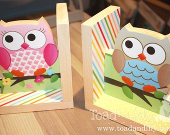 Twin Boy and Girl Owls Kids Bedroom Baby Nursery Wood Bookends BE0003