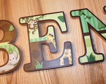 WOODEN WALL LETTERS Jungle Animal Safari Bedroom Baby Nursery Wall Name - Price Per Letter