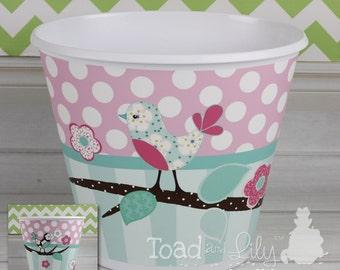 Aqua and Pink Love Birds Birdies Girls TRASH CAN Garbage Container Kids Bedroom Baby Nursery TC0005