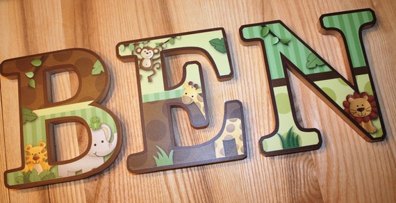 Wooden Wall Letters Jungle Animal Safari Bedroom Baby Nursery