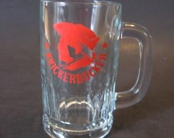 Vintage Knickerbocker Clear Glass Beer Mug Stein Ruppert Brewery NYC Rare