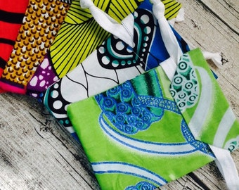 60 re-usable gift bag, pouch, drawstring bag, Jewellery bag made from African wax print