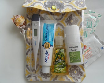Clearance Sale Medium Ouch Pouch Clear Pocket Organizer for First Aid Cosmetics Meds Purse Backpack (5x7 Yellow Damask Fabric)