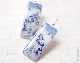 Lilac dangle earrings - Purple earrings  (E026)