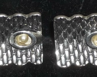 Vintage Curved Basket Weave Modernist Cuff Links Cufflinks Large Silver Tone
