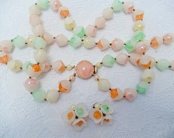 vintage mid century modern necklace and earring set, lucite, Hong Kong,  blossoms, pastel color manmade rhinestones, vintage jewelry