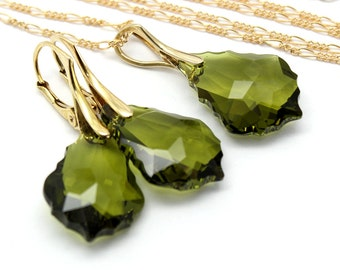 Olivine Green Jewelry Set Gold Filled Sterling Baroque Swarovski Crystal Choose Your Color Bridal Bridesmaids Wedding Necklace Earrings