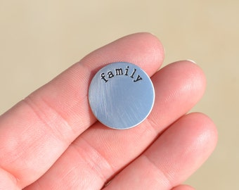 "1 Stainless Steel Memory Locket ""Family"" Plate FL428"