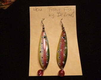 Here Fishy Fishy Walleye Lure Dangle Earrings