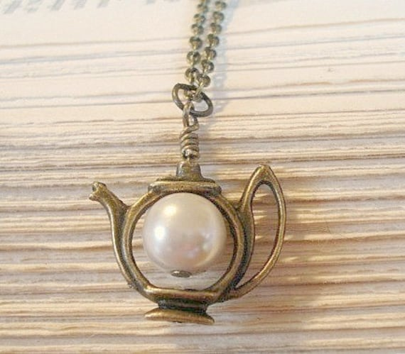 Teapot Necklace Alice's teapot Pearl Necklace Whimsical Jewelry Alice In Wonderland