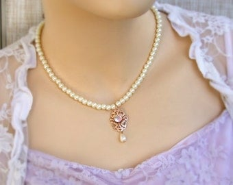 Rose Gold Necklace, Crystal Wedding Necklace, Bridal Pearl Necklace, Wedding Set, Vintage Gold Necklace