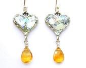 Heart shaped earrings, silver, roman glass & Citrine
