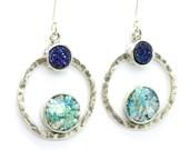 Silver earrings with blue druzy agate & roman glass