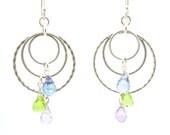 Crystal chandelier sterling silver earrings