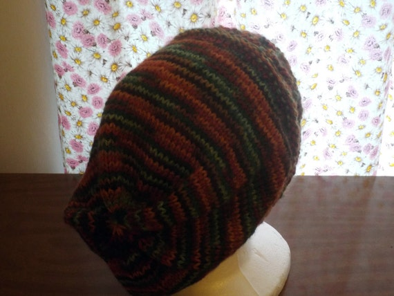 Slouch Hat Knitting Pattern Circular Needles : NEW Original Knit Pattern Diamond Headband Slouchy Hat Mens Womens Yarn Autum...