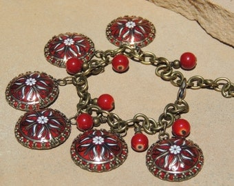 tin charm bracelet, vintage tin, red tin, recycled tin, cookie tin, tin jewelry, tin charms, recycled, repurposed, re use, tin bracelet, red