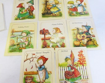 Greeting card with envelopes vintage mid century 1950's set of 8