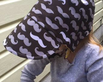 MUSTARD 'STACHE-  a brand new for him Baseball cap bonnet, completely reversible, from Bella Sol Bebe